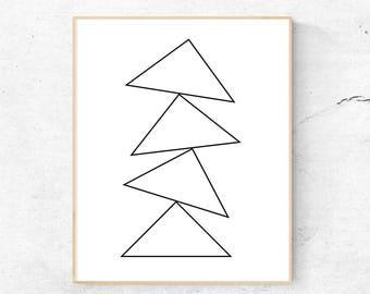 Geometric Art, Original Artwork, Modern Minimalist, Black and White Art, Instant Download Printable Art, Digital Download, Printable Art