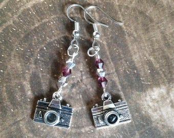 Camera Earrings with Purple Beads - Tibetan Silver
