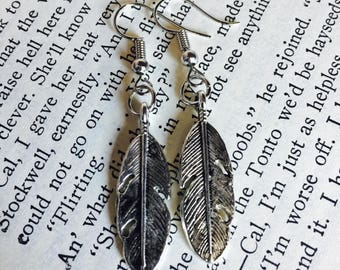 Feather Earrings - Tibetan Silver - Dangle - Native American - Boho - Bohemian
