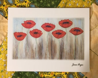 poppy Note cards, poppies note cards, poppy blank note cards, poppy greeting cards, poppy thank you cards, original note cards, flower cards