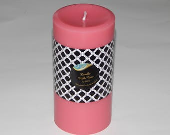 Scented Candle, Purple Scented Pillar Candle - Cherry Blossom Scent