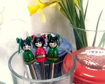 kokeshi (Japanese dolls) teaspoon style kawaii