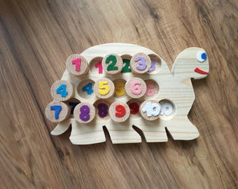 Turtle play wood matching numbers learning toys felt Association learning