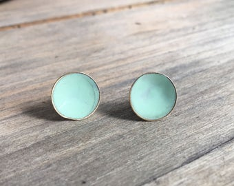 Teal Button Stud Earrings // Round Brass Disks // Sterling Silver Posts