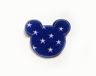 1x denim Mickey Patch with stars cartoon cute kids fun Iron On Embroidered Applique love Disney repair your jacket hat bag dress shoes...
