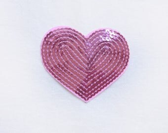 1x sequins sweet pink glitter purple shiny heart patch love burlesque Iron On Embroidered Applique