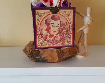 """Grimaldi Vintage Musical Box Clown """"Jack-in-the-box by Enesco Limited Edition 7500 """"Send in the Clowns"""" 1986"""
