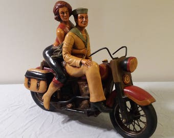Vintage Harley Davidson Motorcycle Statue