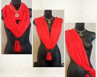 RED Scarf Wrap Necklace - Scarves - Wrap - Handmade - Fashion