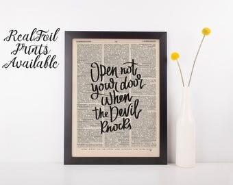 Open Not Your Door When The Devil Knocks Dictionary Print