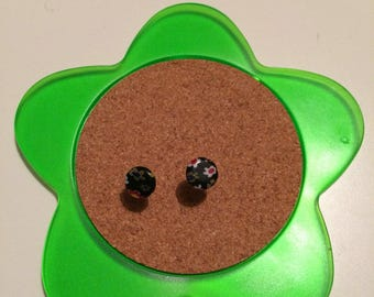 Handmade black glass floral stud earrings