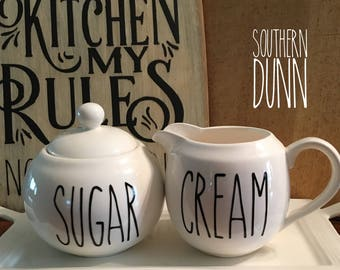 Rae Dunn Inspired Sugar and Cream Decals, Rae Dunn Inspired Vinyl Decals