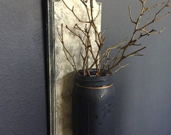 Distressed Mason Jar Wall Decor
