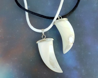 Mother Of Pearl Shark Tooth Necklace