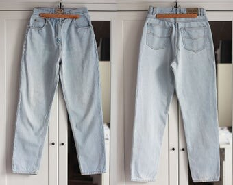 Vintage High Waisted Jeans BROOKER Classic Light Blue Denim Casual Retro 90s 80s Unisex Women Men W28 / Medium size