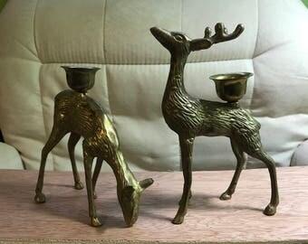 Vintage Brass Deer Candleholders