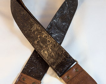 Dark Brown Western Vinyl Guitar Strap