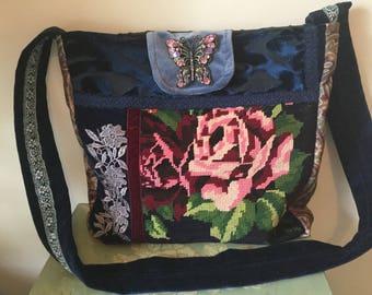 Messenger Cross body bag, vintage tapestry. Boho