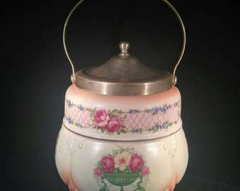 English Transferware Biscuit Jar: beige with peach highlights and roses