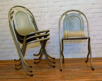 4 available Sebel Stak a Bye industrial metal chairs vintage restaurant cafe interior design stacking retro kitchen garden