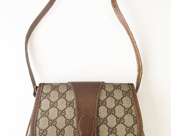 Authentic 80's vintage GUCCI GG crossbody purse hand bag brown PVC leather
