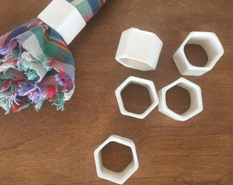 Vintage Porcelain Napkin Rings (set of 6)