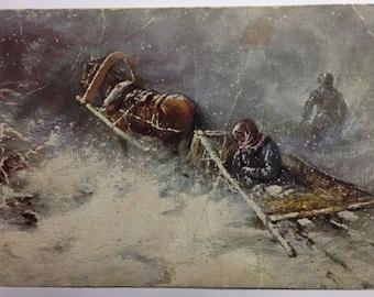 Vintage postcard Russia Stepanov Babushka Snowstorm Royal Russia