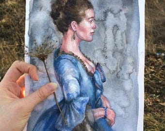 Duchess In Blue by Agny Green baroque history art