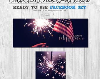 premade INDEPENDENCE DAY facebook cover image set, ready to use timeline facebook banner header avatar package, instant download graphics