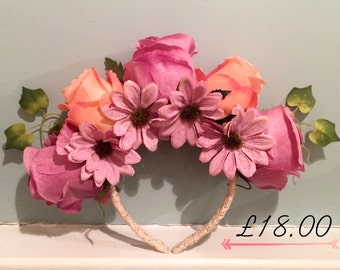 Peach & purple rose/ivy floral head band