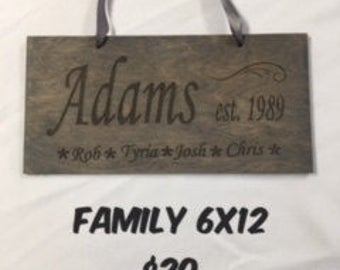 12x6 wood engraved personalized family sign