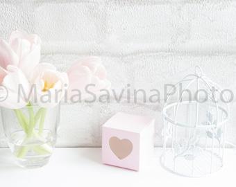 Styled Stock Photo | Flatlay Digital Styled Image | Product Photography | Light Pink Tulip White Birdcage Pink Box Brick Wall Feminine Style