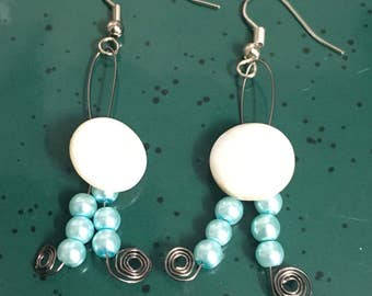 Button and bead earrings