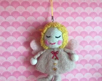 Handmade needle felted angel ornament, felted Christmas angel decor, handmade angel magnet gift
