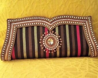 SALE SALE SALE  Beautiful Silk Textured Multicolored Evening Bag & Clutch