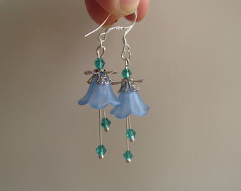 Forest flower earrings blue