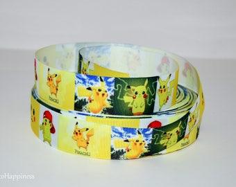 "Pikachu 7/8"" Grosgrain Ribbon 782 By the Yard"