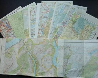 15 Vintage Map Sheets Paper Pack Scraps Ephemera Grab Bag for Scrapbooking, Junk Journalling, Collage, Decoupage