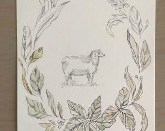 Nursery Decor/ Nursery Wall Art/ Animal Nursery Prints/ Lamb Botanical Print/ Sheep Art