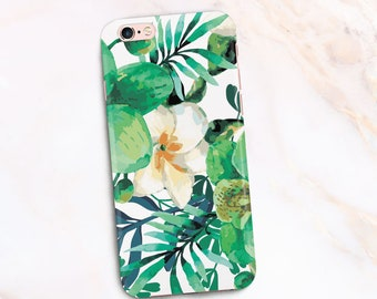 Flowers Spring Design, Palam Leaves iPhone 7 Case [3D Full Wrap] Tropical Lief iPhone 6s Case Flowers, Phone case Floral Design 6