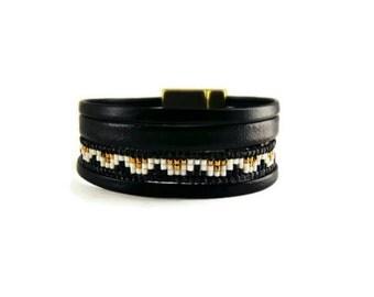 black and bronze faux wrap Cuff Bracelet leather