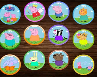 Peppa Pig cupcake Toppers Peppa Pig birthday Cake Toppers Party Decorations Instant dowload Peppa pig birthday decorations printables