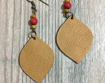 Desert Camel w. Red Bead Leather Earrings