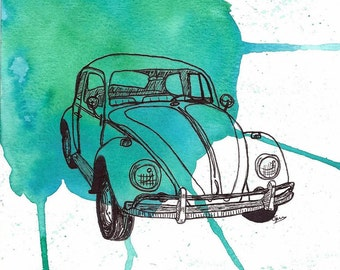 VW Beetle illustration with watercolor