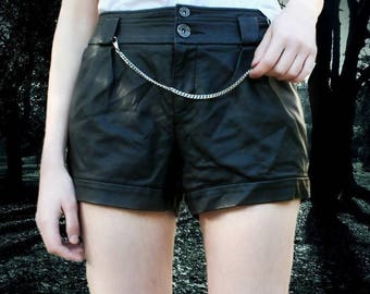 Black Leather Gothic Short punk Cool Wicca Witch Lolita Sexy