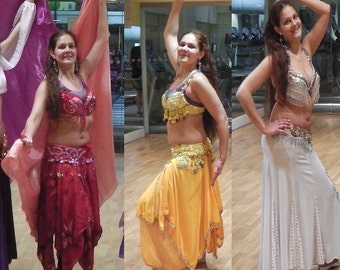 Belly dance costumme,M-L,red,yellow,white