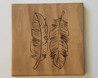 Rustic Wood Nursery, Feathers, Rustic Nature Wall Art, Woodland nursery, Feathers and Arrows, Pyrography Art, baby room,