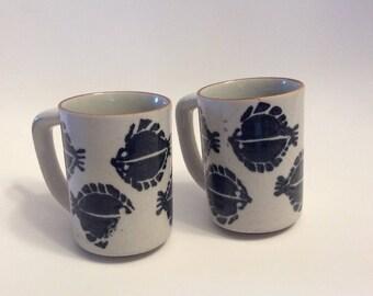 Pair of Vintage Mugs imprinted with Halibut Fish