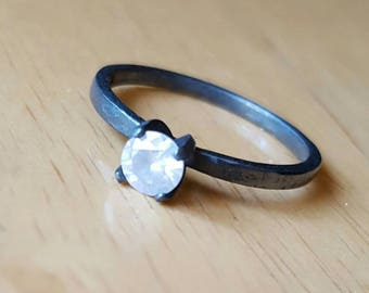 0.40ct white diamond and oxidized silver ring