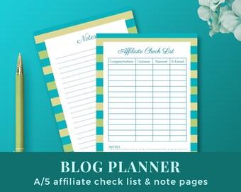 Blog Affiliate Check List / Blog Planner Inserts / Blog Organizer / a5 size printable planner inserts / INSTANT DOWNLOAD